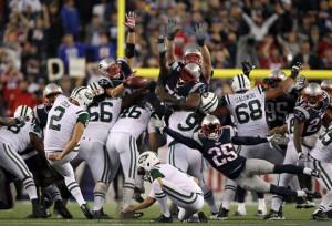 Jets-Pats Field Goal Block