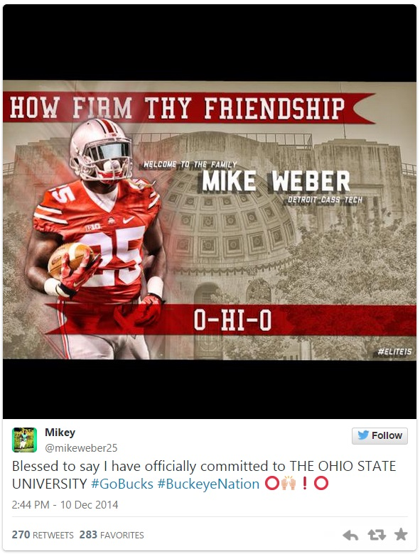 new style 2284a 6d2f6 Former Michigan Recruit Mike Weber Commits To Ohio State